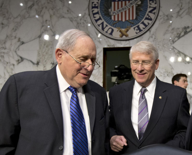 "Senate Armed Services Committee Chairman Sen. Carl Levin, D-Mich., left, and Sen. Roger Wicker, R-Miss., talk on Capitol Hill in Washington, Wednesday, April 17, 2013, before a hearing with Defense Secretary Chuck Hagel. A letter addressed to Wicker, believed to be poisoned with ricin or a similarly toxic substance, was intercepted at a mail facility outside the capital earlier this week. Levin issued a statement saying an aide in his Saginaw, Mich., office had also received a suspicious-looking letter. ""The letter was not opened, and the staffer followed the proper protocols for the situation, including alerting the authorities, who are now investigating,"" Levin said in a statement. (AP Photo/J. Scott Applewhite)"