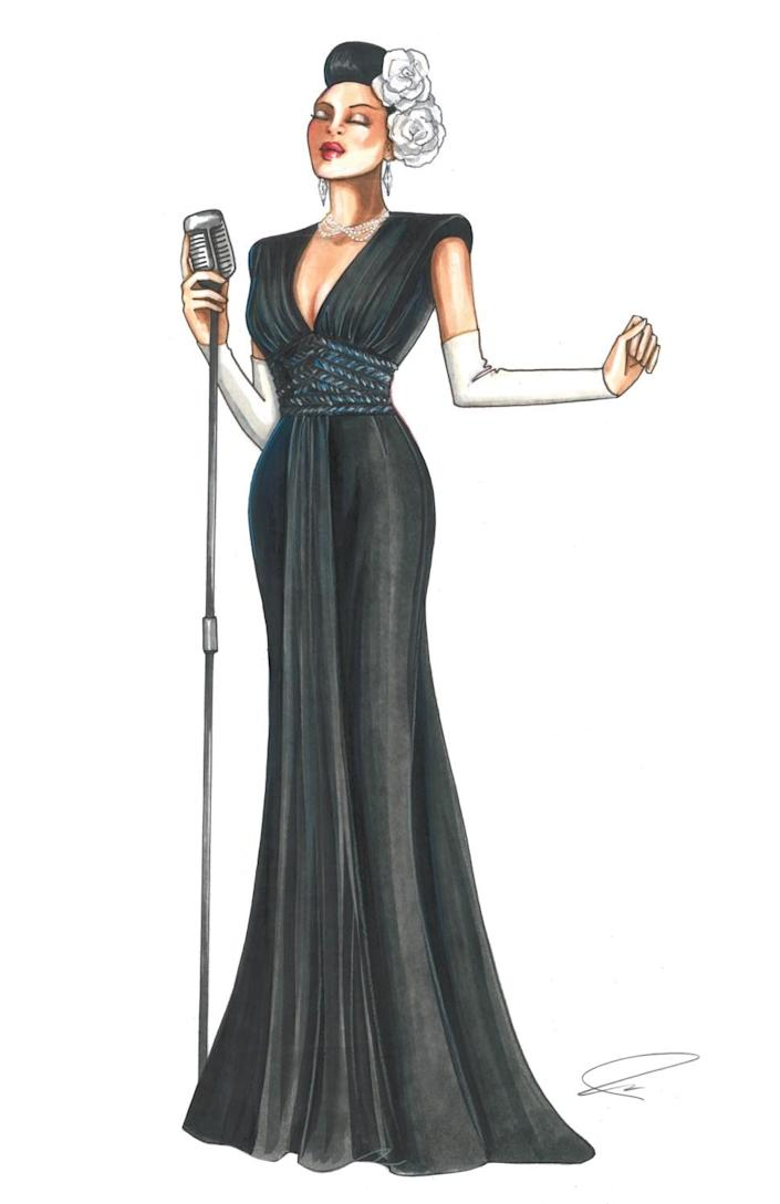 "Carnegie Hall costume sketch by Paolo Nieddu for ""The United States vs. Billie Holiday."""
