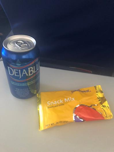 Southwest Airlines is only serving water and a snack mix on flights during the pandemic, and then only on flights over 250 miles. The airline started serving canned water but has since switched to a cup of water with ice.