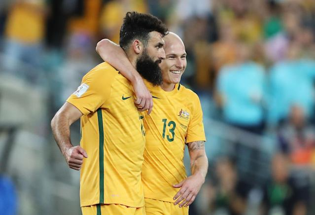 Mile Jedinak and Aaron Mooy will have to be on their games for Australia at the 2018 World Cup. (Getty)