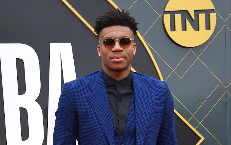 Milwaukee Bucks star Giannis Antetokounmpo arrives for the NBA Awards, where the Greek forward was named the Most Valuable Player of the 2018-19 season (AFP Photo/LISA O'CONNOR)
