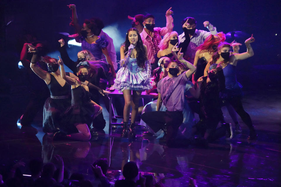 """Olivia Rodrigo performs """"Good 4 U"""" at the MTV Video Music Awards at Barclays Center on Sunday, Sept. 12, 2021, in New York. (Photo by Charles Sykes/Invision/AP)"""