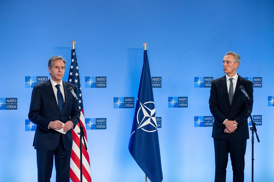 BRUSSELS, BELGIUM - APRIL 14: United States Secretary of State, Antony Blinken (L) and Secretary General of NATO, Jens Stoltenberg  (Photo: Anadolu Agency via Getty Images)