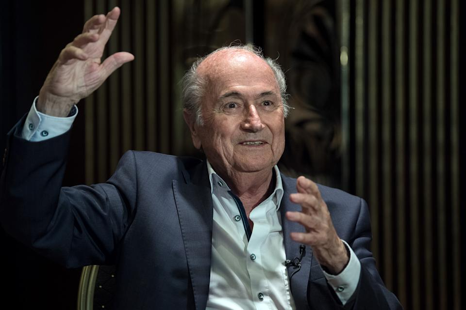 21 June 2018, Moscow, Russia: The former FIFA president Joseph Blatter. He was supposedly invited to see the world cup by the Russian president Vladimir Putin himself. Photo: Federico Gambarini/dpa (Photo by Federico Gambarini/picture alliance via Getty Images)