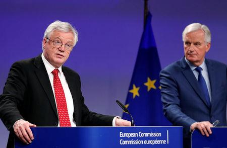 Britain's Secretary of State for Exiting the European Union David Davis and European Union's chief Brexit negotiator Michel Barnier hold a joint news conference after the latest round of talks in Brussels, Belgium October 12, 2017. REUTERS/Francois Lenoir