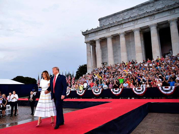 """President Donald Trump and first lady Melania Trump arrive at the """"Salute to America"""" Fourth of July event at the Lincoln Memorial in Washington, D.C., July 4, 2019."""