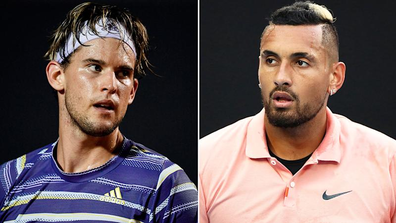 Pictured here, men's tennis stars Dominic Thiem and Nick Kyrgios.