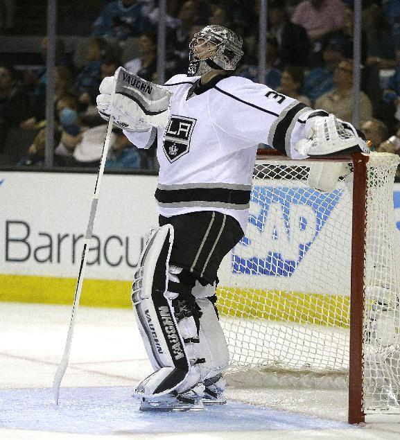 Los Angeles Kings goalie Jonathan Quick watches a replay of a goal made against him by the San Jose Sharks during the second period of Game 1 of an NHL hockey first-round playoff series Thursday, April 17, 2014, in San Jose, Calif. (AP Photo/Ben Margot)