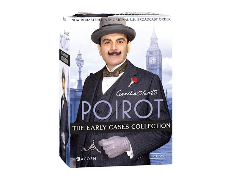 """This DVD box set image released by Acorn Media shows """"Poirot: The Early Cases Collection."""" Agatha Christie's most famous sleuth is on the case in 45 whodunits from the first six series of the TV phenomenon starring David Suchet in the title role. (AP Photo/Acorn Media)"""