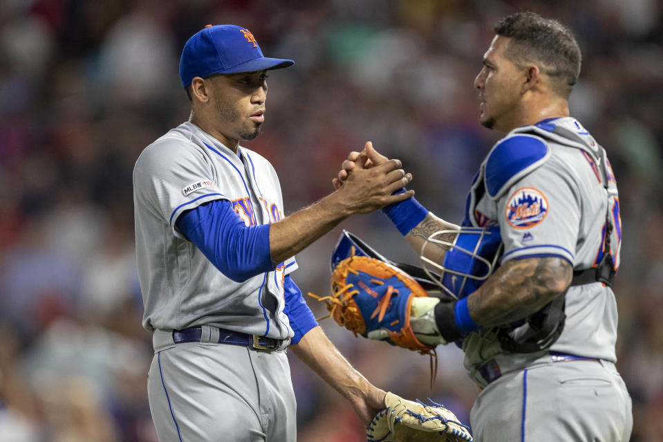 Jul 16, 2019; Minneapolis, MN, USA; New York Mets relief pitcher Edwin Diaz (39) celebrates with catcher Wilson Ramos (40) after defeating the Minnesota Twins at Target Field. Mandatory Credit: Jesse Johnson-USA TODAY Sports