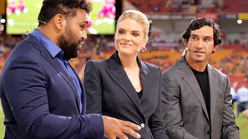 Sam Thaiday, Erin Molan and Jonathan Thurston, pictured here during a Channel Nine broadcast.