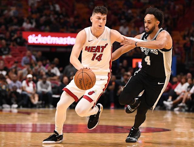 Tyler Herro dropped 18 points to lead Miami past San Antonio in its preseason debut on Tuesday night. (Mark Brown/Getty Images)