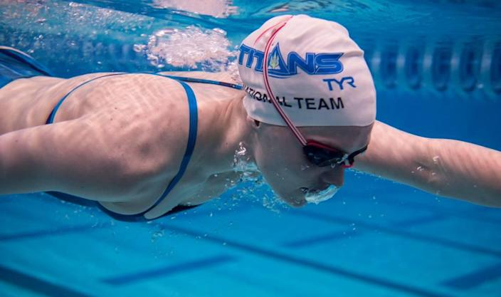 Claire Curzan, 17, of Cary, N.C., pictured here practicing at the Triangle Aquatic Center in Cary on June 24, 2021, will be one of the youngest athletes competing in the 2020 Tokyo Olympics.