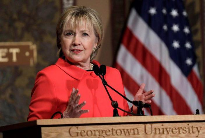 Former Secretary of State Hillary Clinton speaks at Georgetown University on Friday. (Photo: Kevin Lamarque/Reuters)