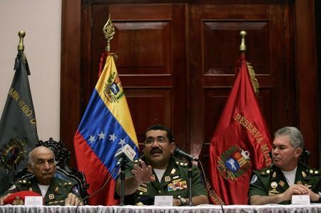 FILE PHOTO: Venezuela's Defense Minister, Commander in Chief Gustavo Rangel Briceno attends a news conference in Caracas