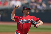 Cleveland Indians starting pitcher Shane Bieber delivers in the first inning of a baseball game against the Kansas City Royals, Wednesday, April 7, 2021, in Cleveland. (AP Photo/Tony Dejak)