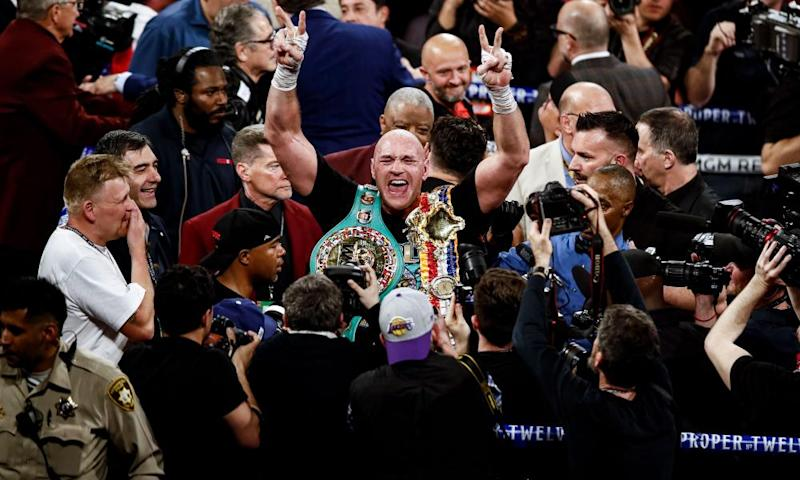 Tyson Fury celebrates after his victory