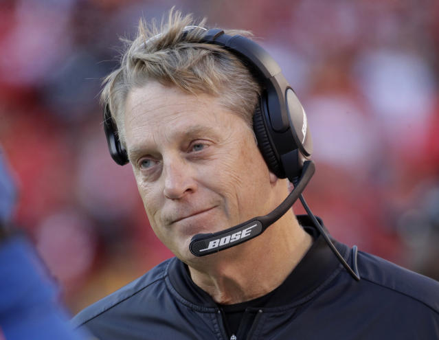 FILE - In this Dec. 10, 2017, file photo, Oakland Raiders head coach Jack Del Rio watches during the second half of an NFL football game against the Kansas City Chiefs, in Kansas City, Mo. The Washington Redskins have hired Jack Del Rio as defensive coordinator. The Redskins added the former head coach of the Oakland Raiders on Thursday, Jan. 2, 2019, a day after hiring Ron Rivera as head coach. (AP Photo/Charlie Riedel, File)