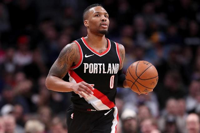 Damian Lillard of the Portland Trail Blazers, seen in action during a NBA game in Denver, Colorado, on January 22, 2018 (AFP Photo/MATTHEW STOCKMAN)