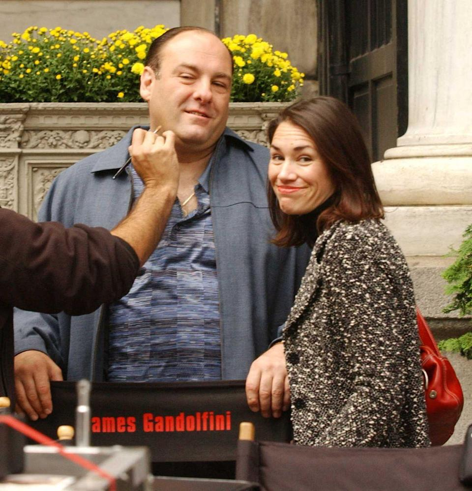 <p>James Gandolfini gets a final touch up before filming.</p>