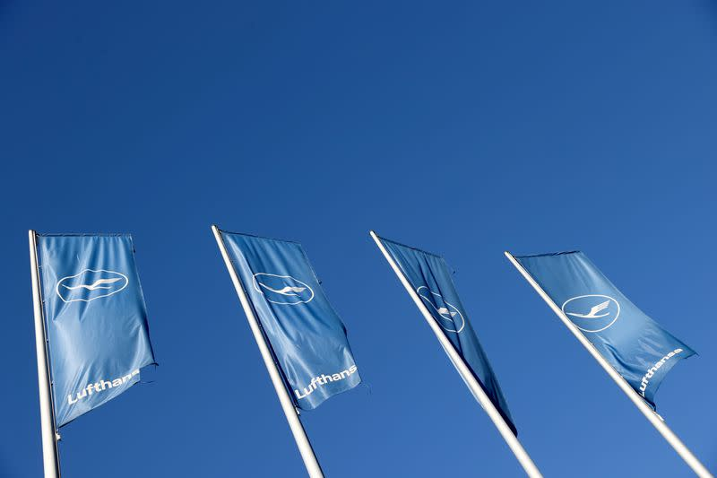 Lufthansa's flags flutter in front of a temporary closed First Class Terminal at Frankfurt Airport