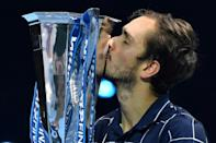 Russia's Daniil Medvedev celebrates victory at the 2020 ATP Finals