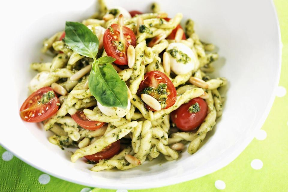 """<p>Strozzapreti works well with just about any sauce, but <a href=""""https://www.delish.com/uk/cooking/recipes/a30271400/pesto-pasta/"""" rel=""""nofollow noopener"""" target=""""_blank"""" data-ylk=""""slk:pesto"""" class=""""link rapid-noclick-resp"""">pesto</a> or tomato sauces are popular choices.</p>"""