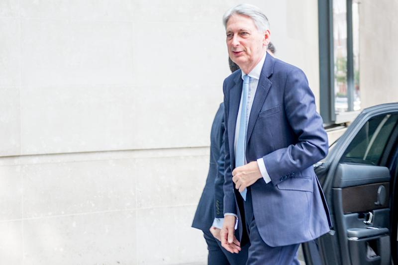 LONDON, ENGLAND - JULY 21: Chancellor of the Exchequer, Philip Hammond MP, arrives at BBC Broadcasting House before his interview on The Andrew Marr Show on July 21st, 2019 in London, England. (Photo by Ollie Millington/Getty Images)