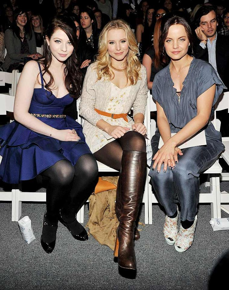 """Gossip Girl"" cutie Michelle Trachtenberg got cozy with ""When in Rome"" star Kristen Bell and a brunette Mena Suvari at the Rebecca Taylor show on Valentine's Day. Mena, did you forget to put your party shoes on? Bryan Bedder/<a href=""http://www.gettyimages.com/"" target=""new"">GettyImages.com</a> - February 14, 2010"