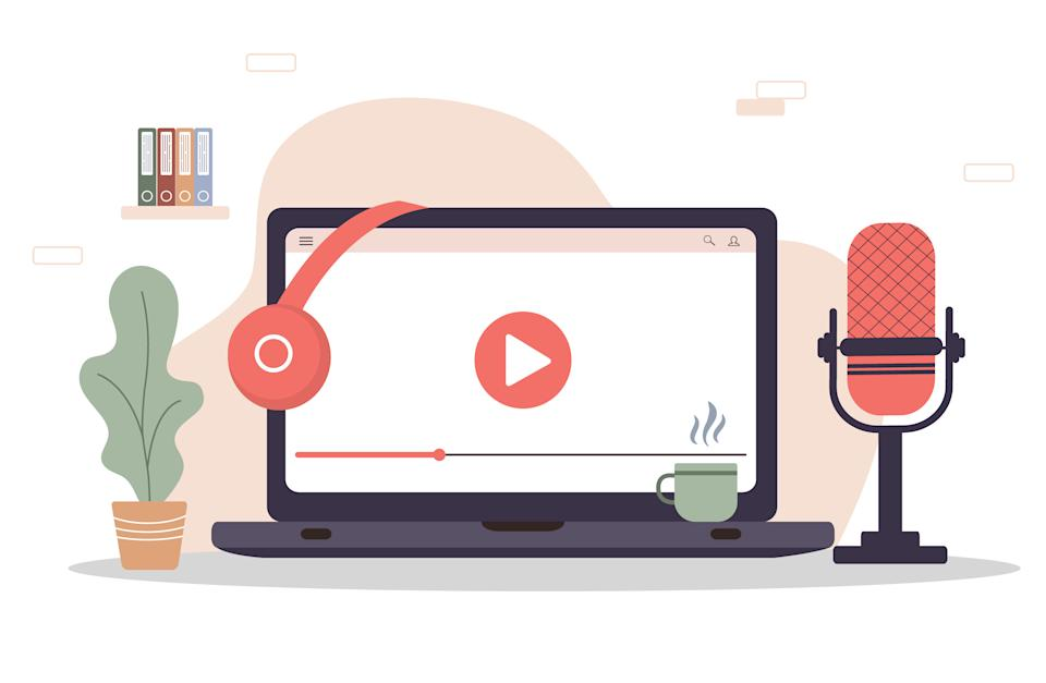 Podcast concept. Equipment for blogging, webcasting and broadcasting. Radio host workplace. Recording webinar, tutorials and online courses. Vector illustration in flat cartoon style.