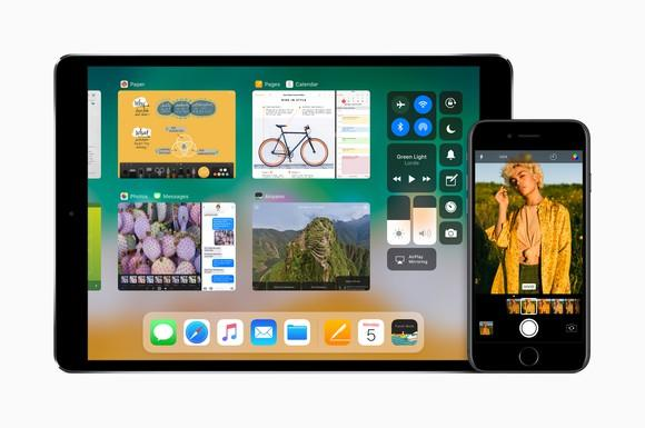 An Apple iPad Pro on the left and an iPhone 7 on the right.