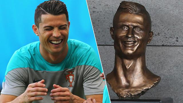 Cristiano Ronaldo's original bust at his airport in Madeira has been replaced.