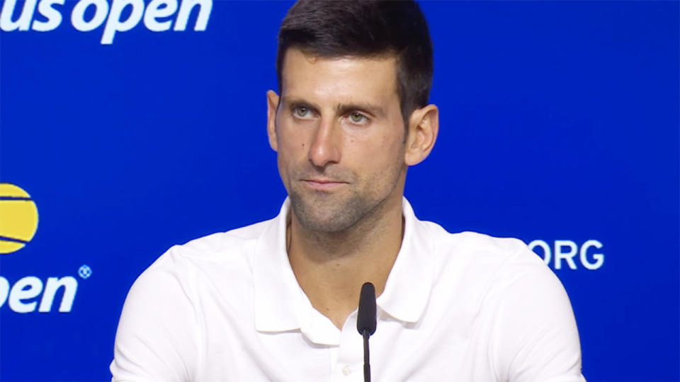 Novak Djokovic, pictured here speaking to the media after the US Open final.