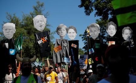 G7 opponents attend a protest in Hendaye
