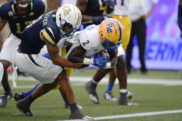 Pittsburgh running back Israel Abanikanda (2) runs for a touchdown against Georgia Tech during the first half of an NCAA college football game, Saturday, Oct. 2, 2021, in Atlanta. (AP Photo/Mike Stewart)