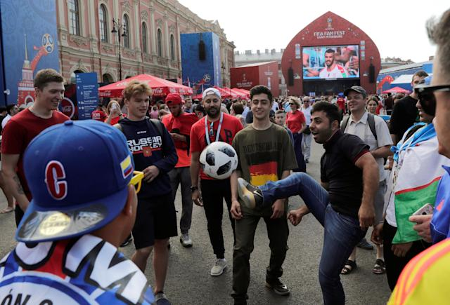Soccer Football - World Cup - Group E - Costa Rica vs Serbia - Saint Petersburg, Russia - June 17, 2018. A fan kicks a ball at Saint Petersburg Fan Fest. REUTERS/Henry Romero