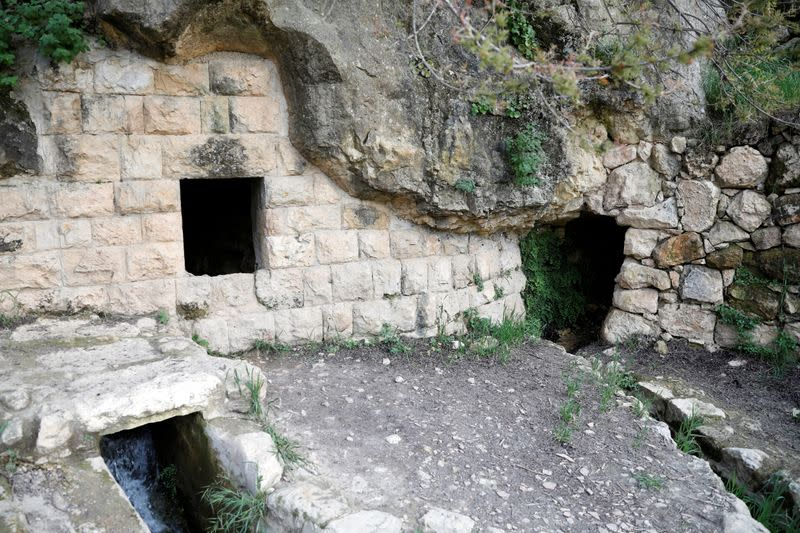 """A natural spring where Ultra-Orthodox Jews usually does the """"Mayim Shelanu"""" ceremony"""