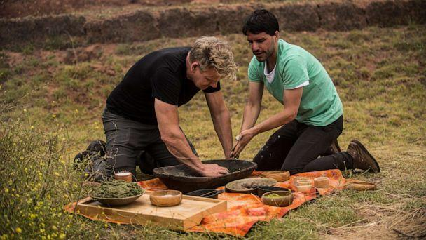PHOTO: Gordon Ramsay and Peruvian chef and restaurateur, Virgilio Martinez, during the cook-off in Peru's Sacred Valley. (Ernesto Benavides/National Geographic)
