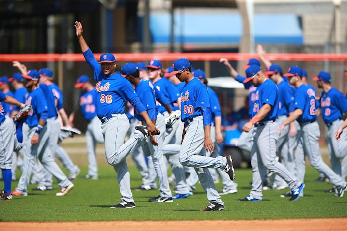 <p>New York Mets prospects stretch before workouts at the New York Mets spring training facility in Port St. Lucie, Fla., Wednesday, March 1, 2017. (Gordon Donovan/Yahoo Sports) </p>
