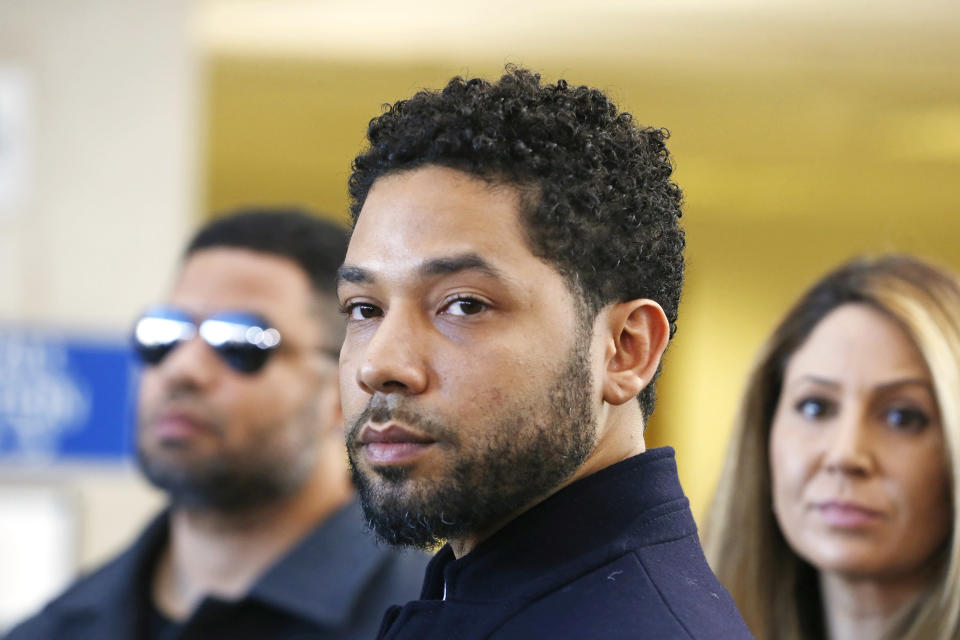 Jussie Smollett after his court appearance on March 26, 2019 in Chicago, Illinois where it was announced that all charges were dropped against the actor. (Photo: Nuccio DiNuzzo/Getty Images)