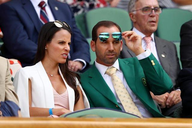 "<a class=""link rapid-noclick-resp"" href=""/golf/european/players/Sergio+Garcia/1040"" data-ylk=""slk:Sergio Garcia"">Sergio Garcia</a> and fiancée Angela Akins take in the action at the All England Club. (Getty Images)"