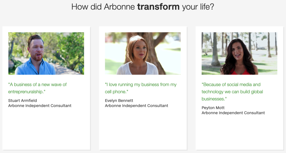 Arbonne, an MLM company, advertises its business opportunity to potential distributors. (Screenshot of Arbonne's website)