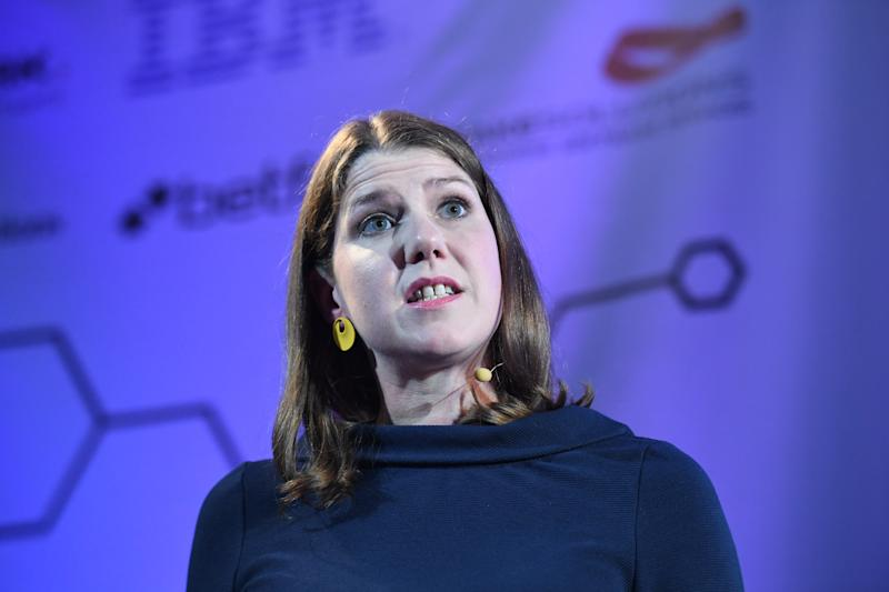 Jo Swinson giving her first major speech as Leader of the Liberal Democrats since she was elected last month at Code Node in London.