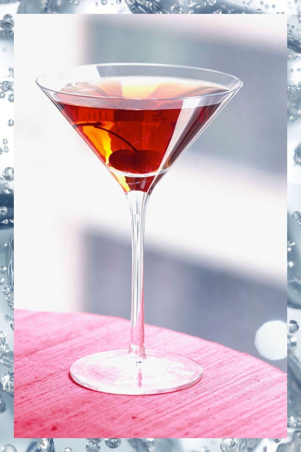 """<p>Created sometime in the mid-1800s, the Manhattan is one of the booziest classic drink recipes. </p><p>- 2 oz rye whiskey<br>- 1 oz sweet vermouth<br>- 2 dashes Angostura bitters</p><p><em>Stir ingredients in a mixing glass with ice. Strain into chilled <a href=""""https://www.amazon.com/Riedel-VINUM-Martini-Glasses-Set/dp/B000W06570/?tag=syn-yahoo-20&ascsubtag=%5Bartid%7C10067.g.13092298%5Bsrc%7Cyahoo-us"""" rel=""""nofollow noopener"""" target=""""_blank"""" data-ylk=""""slk:martini glass"""" class=""""link rapid-noclick-resp"""">martini glass</a> or <a href=""""https://www.amazon.com/Libbey-Perception-Cocktail-Coupe-Glass/dp/B009XD642S?tag=syn-yahoo-20&ascsubtag=%5Bartid%7C10067.g.13092298%5Bsrc%7Cyahoo-us"""" rel=""""nofollow noopener"""" target=""""_blank"""" data-ylk=""""slk:cocktail coupe"""" class=""""link rapid-noclick-resp"""">cocktail coupe</a>.</em><strong><br></strong></p><p><strong>More: </strong><a href=""""http://www.townandcountrymag.com/leisure/drinks/g3242/whiskey-cocktails/"""" rel=""""nofollow noopener"""" target=""""_blank"""" data-ylk=""""slk:Whiskey Cocktails to Shake Up Your Bar Cart"""" class=""""link rapid-noclick-resp"""">Whiskey Cocktails to Shake Up Your Bar Cart</a><br></p>"""