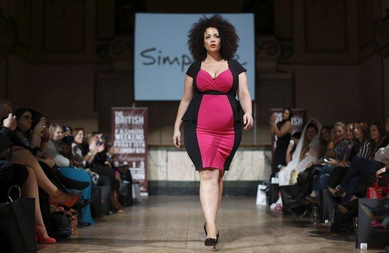 A plus-size model wearing clothes from Simply Be at the Official British Plus-Size Fashion Weekend on February 16, 2013