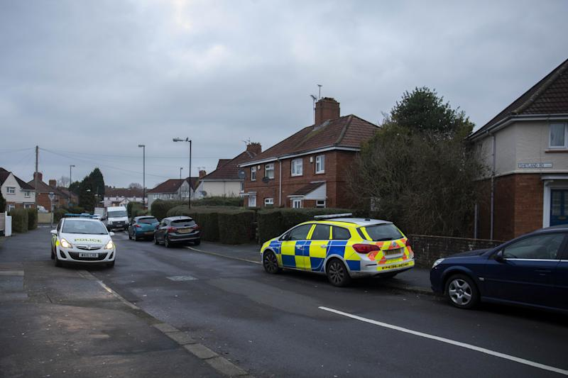 Police at Shetland Road, in Bristol, after homes were evacuated (Picture: SWNS)