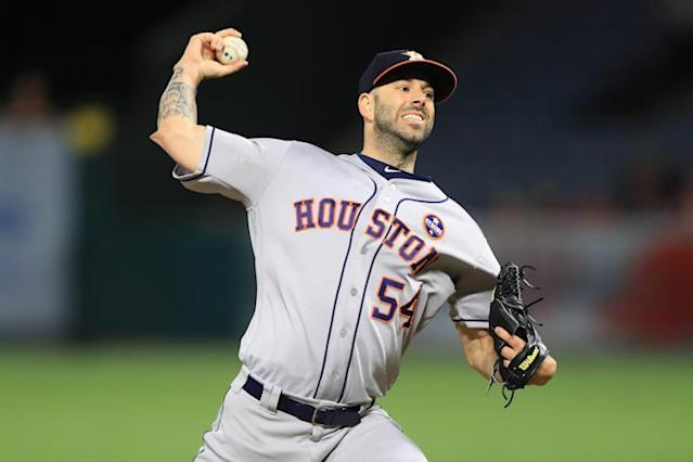 "Veteran <a class=""link rapid-noclick-resp"" href=""/mlb/players/9078/"" data-ylk=""slk:Mike Fiers"">Mike Fiers</a> pitched a no-hitter for the Astros in 2015 but is coming off two down seasons. (AP)"
