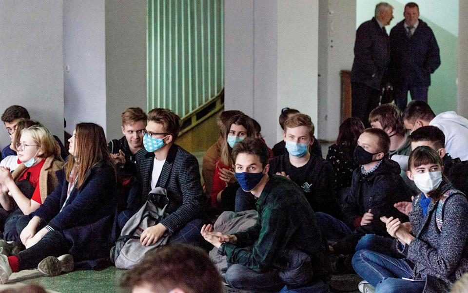 Students at several universities in Minsk staged sit-ins on Monday - AFP via Getty Images