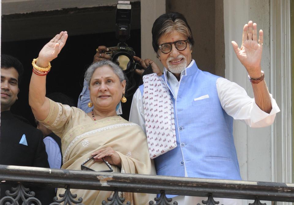 KOLKATA, INDIA - MAY 8: Bollywood actor Amitabh Bachchan along with wife Jaya Bachchan during a grand opening of Kalyan Jewellers showroom at Camac Street, on May 8, 2016 in Kolkata, India. The showrooms will feature Polki, gold, diamond and precious stone studded jewellery designs from across the country. (Photo by Samir Jana/Hindustan Times via Getty Images)
