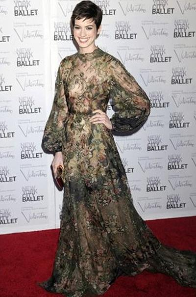 <p><b>Anne Hathaway</b></p> <p>An avid and long-time devotee of Valentino (the retired designer himself designed her wedding dress), <em>Les Miserables</em> star Anne Hathaway donned a wildly romantic sheer and floral embroidered gown from the house's couture collection to attend the New York City Ballet Gala. Coupled with her pixie 'do, the look was worthy of a midsummer's night dream.</p>